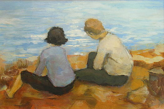 Two children by the sea 2 by Alfons Niex