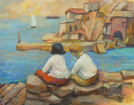 Two children by the sea 3 by Alfons Niex