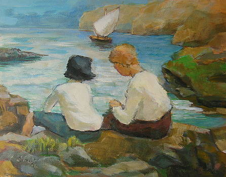 Two children by the sea 4 by Alfons Niex