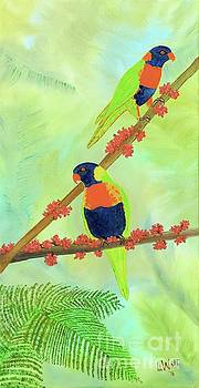 Two Colorful Parrots  by Linda Wolf