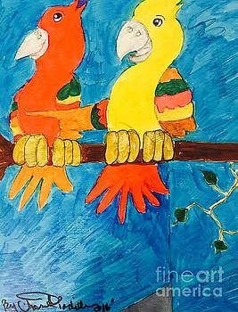 Two Double Yelloe Headed Birds by Charita Padilla