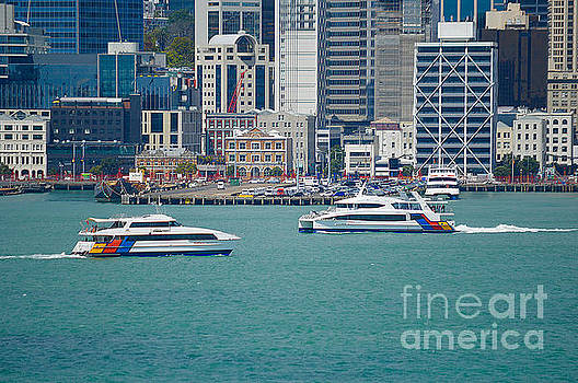 Two Ferries On Auckland Harbour by Clive Littin