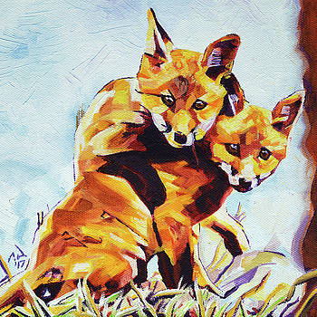 Two Fox Cubs Playing by Cameron Dixon