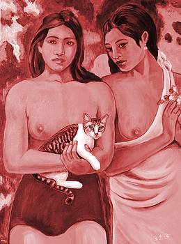 Two Girls and a Cat by George I Perez