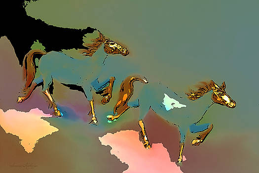 Two Golden Horses Abstract 3 by Susanna Katherine