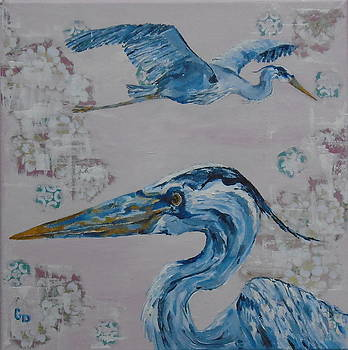 Two Great Blue Heron by Georgia Donovan