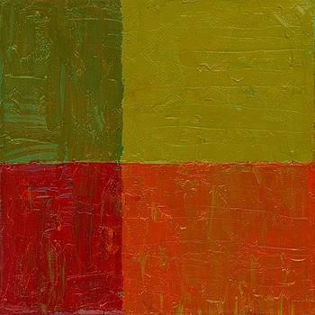 Michelle Calkins - Two Greens Orange and Red