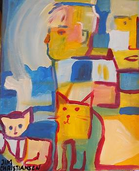 Two Guys Two Cats by James Christiansen