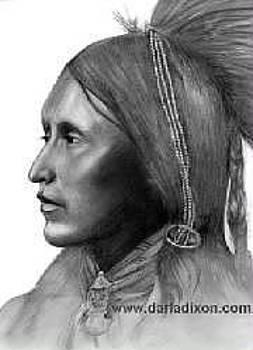 Two Hatchet Kiowa Warrior Native American Old West  by Darla Dixon