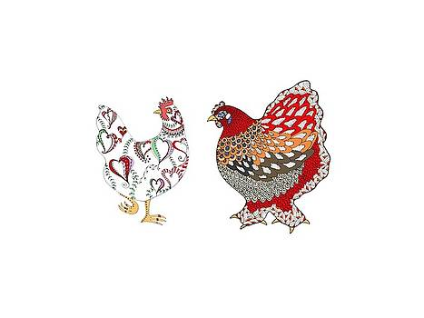 Two Hens by Sarah Rosedahl
