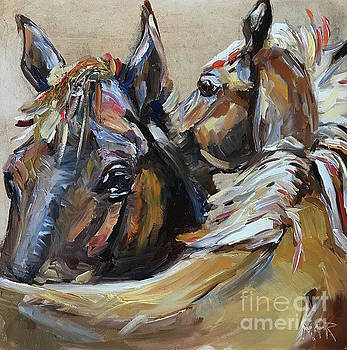 Two Horses by Maria's Watercolor