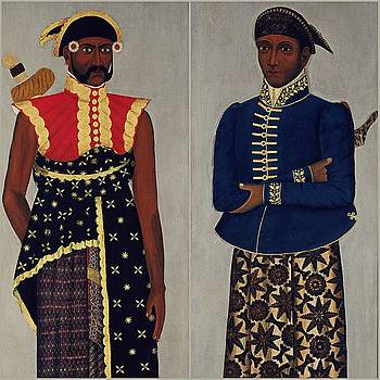 Two Javanese Court Officials collage by Vincent Monozlay