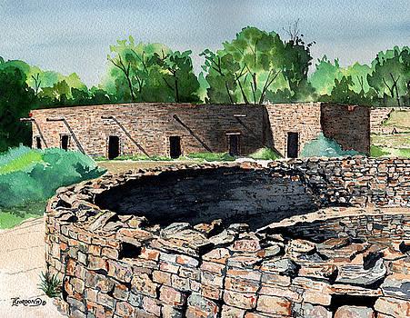 Two Kivas Aztec Ruins by Timithy L Gordon