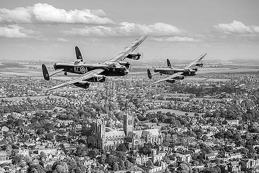 Gary Eason - Two Lancasters over Lincoln Cathedral black and white version