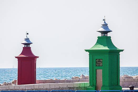 Two Lighthouses In Piran by Matjaz Preseren