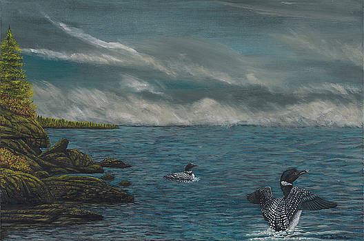 Two Loons in Stormy Lake Superior by Ron Dietman