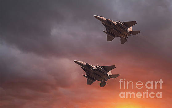 Simon Bratt Photography LRPS - Two low flying F-15E Strike Eagles at sunset