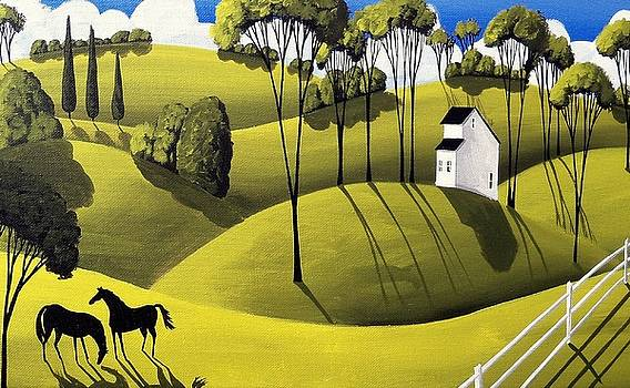 Two Mares - horse folk art landscape by Debbie Criswell