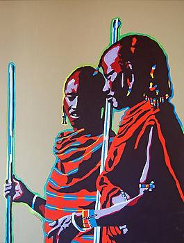 Two Masai Warriors by Gail Zavala