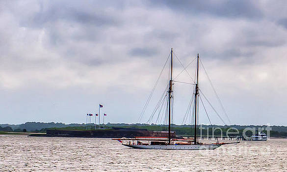 Dale Powell - Two Masted Schooner Sailing by Fort Sumter