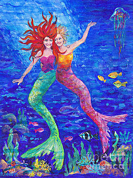 Peggy Johnson - Two Mermaids  by Peggy Johnson