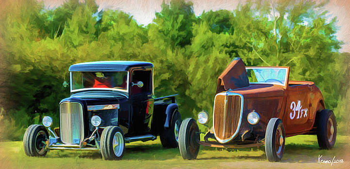 Two Old Hot Rods by Ken Morris