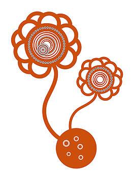 Two Orange Flowers by Frank Tschakert