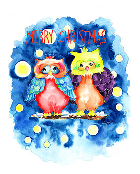 Two owls and a starry night by Isabel Salvador
