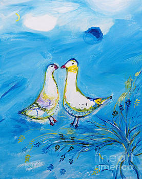 Two Pigeons - Tribute to Chagall by Art by Danielle