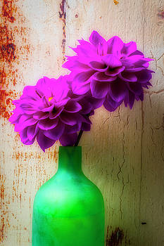 Two Purple Dahlias In Green Vase by Garry Gay