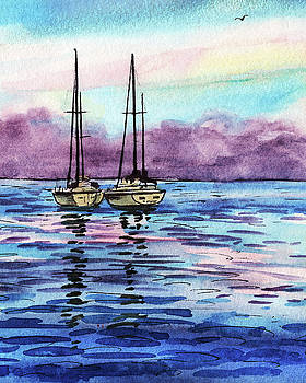 Two Sailboats At The Shore Watercolor by Irina Sztukowski