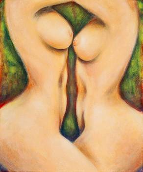 Two sensuous nudes in the forest by Melle Varoy