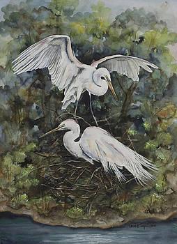 Two Snowy Egrets by Laurie Tietjen