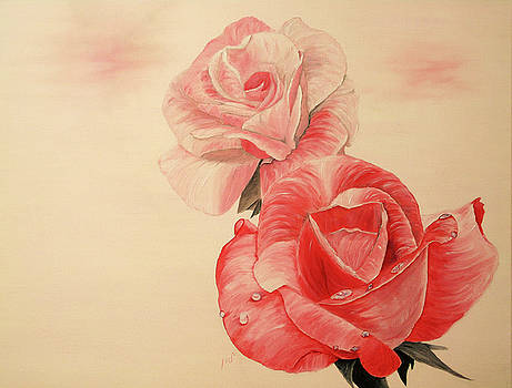 Two tea roses by Maria Woithofer