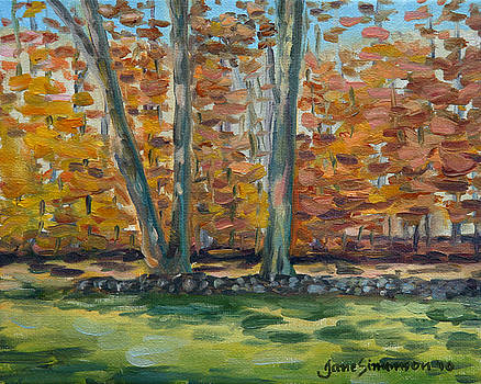 Two Trees Stone Wall 2 by Jane  Simonson