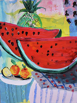 Two watermelons and pineapple by Amara Dacer