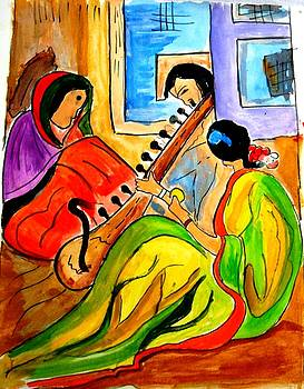 Two women sitting and a man playing sitar by Sonali Singh