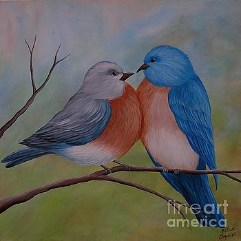 Two Bluebirds by Valerie Carpenter