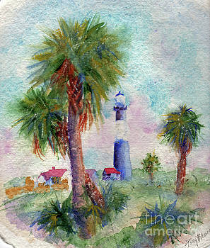 Tybee Lighthouse and Palms by Doris Blessington