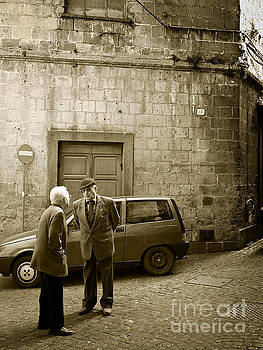 Typical italian street scene in sepia by IPics Photography