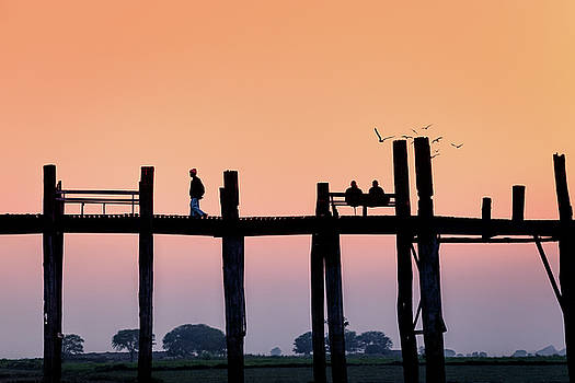 U-bein bridge at dawn by Marji Lang