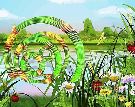U F O In A River Art by Clive Littin