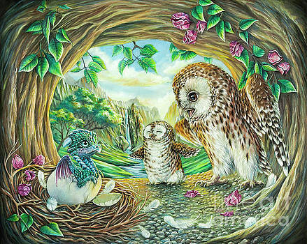 Ugly duckling - Dragon baby and Owls by Anne Koivumaki - Fine Art Anne