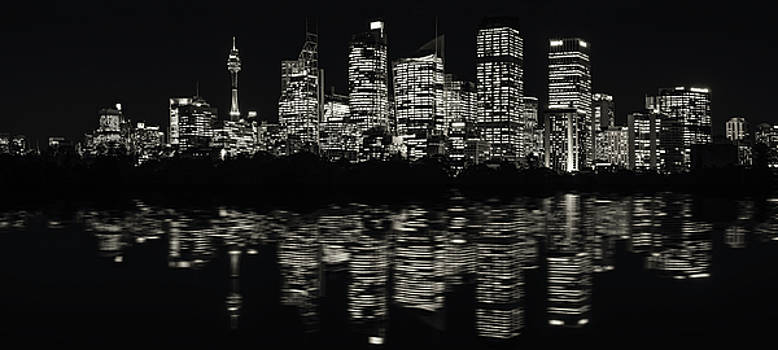 Ultra-wide Panorama of Sydney Waterfront Skyline in Black and White by Daniela Constantinescu
