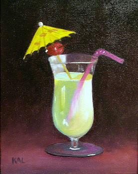 Umbrella Drink with Cherry by Kathy Lumsden