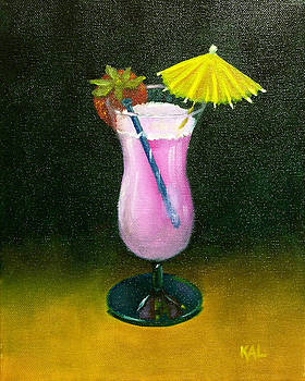 Umbrella Drink with Strawberry by Kathy Lumsden
