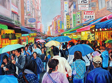 Umbrellas up in Taiwan by Karen Cade
