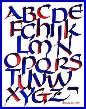 Uncial Alphabet in Red and Blue by Deborah Willard