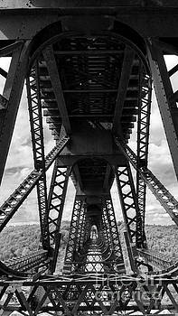 Under the Kinzua Bridge in black and white by E B Schmidt