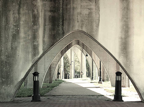 Under The Main Street Bridge - Black and White - Conway, South Carolina by Joey OConnor